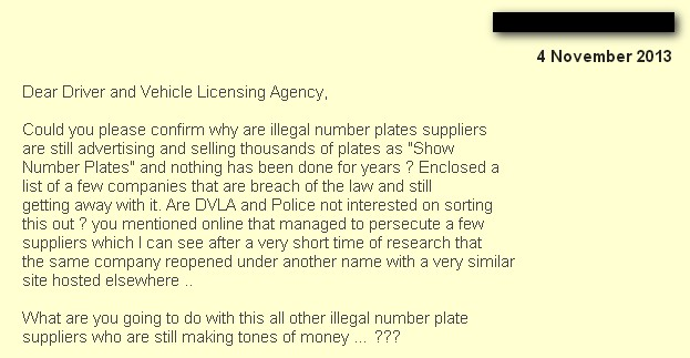 question on dvla about show plates