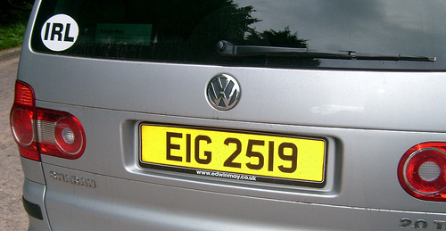 irish number plate example