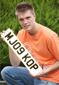Michael Jackson fan Thomas Slater with number plate MJ09 KOP