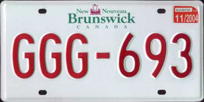 Canadian Number Plate