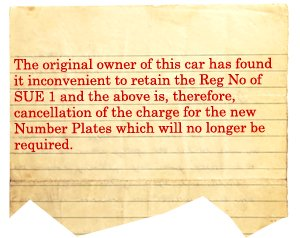 Cancellation of the charge for the number plate SUE 1